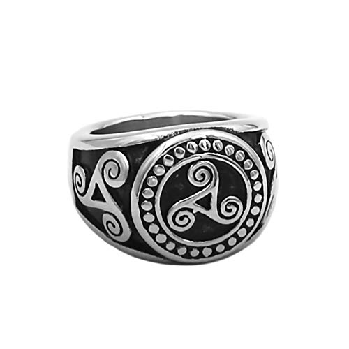 Fantasy Forge Jewelry Triskelion Signet Ring Mens Womens Stainless Steel Triskele Band Sizes 7-14 (14)