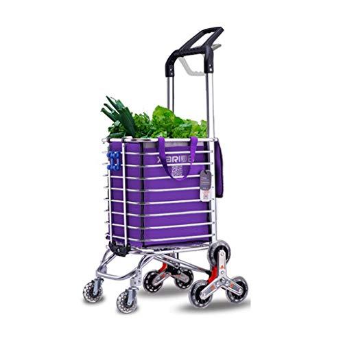 FEANG Carrito de la compra Carrito de la compra Carrito de escalada de escaleras, carrito plegable con ruedas giratorias actualizado Alargar Supermercado Carrito de la compra (Color: Púrpura)