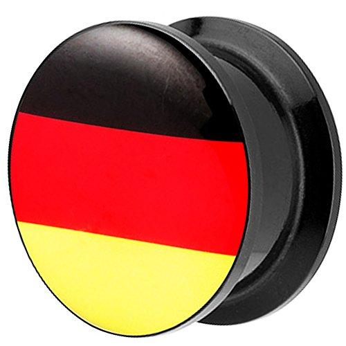 Piersando Piercing Ohr Plug Flesh Tunnel Fahne Motiv Fussball EM & WM Länderflagge Fanartikel Land Flagge Schmuck Deutschland 16mm