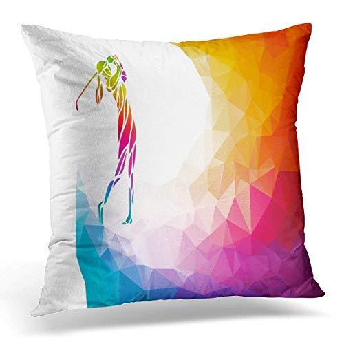 Fcdraon Funda de almohada abstracta silueta de golfista de mujer jugador de golf Lady Club, funda de almohada decorativa para decoración del hogar, 45,7 x 45,7 cm
