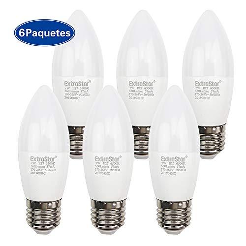 EXTRASTAR Bombillas LED Vela E27-7W equivalente a 56W, 560 lumen,Blanca Fria No regulable - Pack de 6 Unidades. [Clase de eficiencia energética A+]