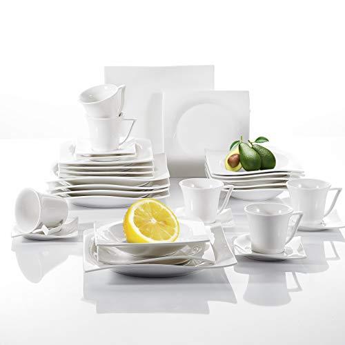 vancasso, Série Lolita, 30 Pcs Service de Table pour 6 Personnes, Service Complet Vaiselle en Porcelaine Blanche, Tasses à café, Assiettes à Dessert, Assiettes Creuses Plates