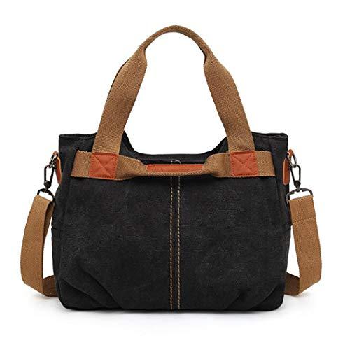 YHFJB Weinlese-beiläufige Tote Handtasche große Kapazitäts-Umhängetasche Umhängetasche Canvas Satchel Messenger Bag Purse Frauen,Schwarz