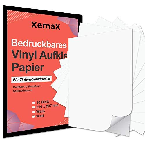 Xemax 10 Blätter Bedruckbares Wasserdicht Vinyl Aufkleber Papier in Mattweißer im Format A4, Wasserabweisendes Mattes Vinyl Sticker Papier für Tintenstrahldrucker, Mattweiß, 210 x 297 mm
