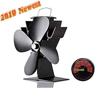 Heat Powered Stove Fan 4 Blades Wood Stove Fan, with Stove Thermometer,50°C Heating Silent Fireplace Fan for Wood/Log Burner/Fireplace Eco-Friendly and Efficient Heat Distribution Maximum Operating