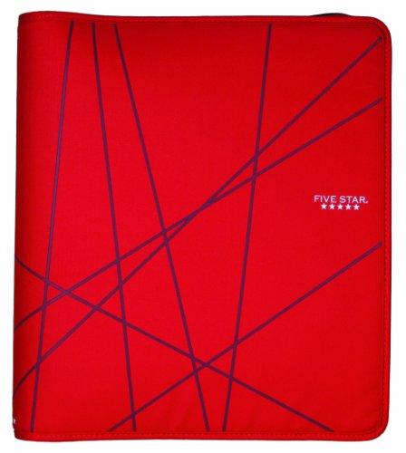 Five Star 1-1/2 Inch Zipper Binder, Ring Binder, Red (72356)