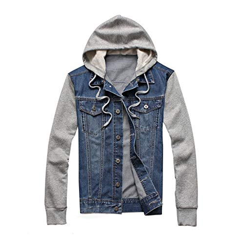 Luckycat Herren Sweat-Jacke Denim Herren Jeansjacke Basic Stretch Jeans Jacke mit Stehkragen Übergangsjacke Hoodie Sweatjacke Freizeitjacke Sommerjacke Kapuzenpullover Pullover Slim Fit