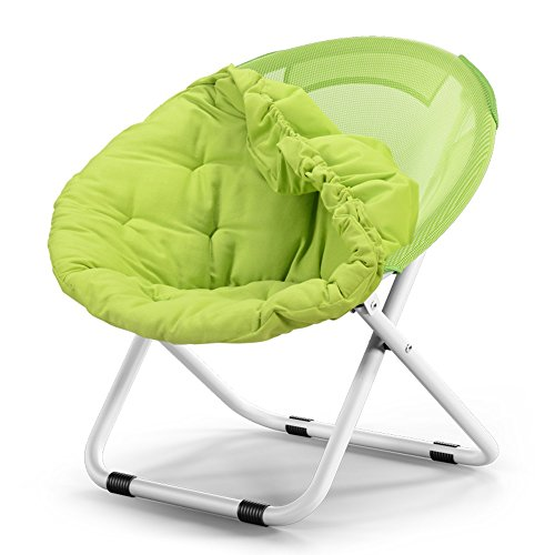 Folding Chair Washable Adult Moon Chair/Sun Chair/Lazy Chair/Sun Lounger Round Chair/Sofa Chair/Solid Color Home Lazy Couch / (Color : Green)