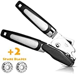THXMADAM Kitchen Manual Can Opener Smooth Edge - 3-in-1 Professional Heavy Duty Can Opener - 2020 Upgrade Premium Stainless Steel Can Opener,Easy Turn Knob Handheld Can Opener. with 2 Spare Blades