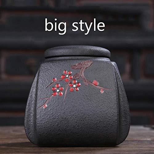 LINWX Tee Vorratsglas Keramik Keramik Pflaume Blumenmuster Siegel Dosen feuchtigkeitsdichten Teetanks Container Teegeschirr Zubehör Dekor, großen Stil