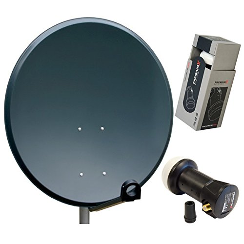 PremiumX Antenne 60cm Sat Schüssel aus ALU FullHD HDTV Satelliten Camping Spiegel 60 cm Anthrazit Deluxe Single LNB 0,1dB HDTV Digital 4K UHD