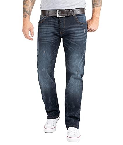 Rock Creek W29-W44 - Pantalón vaquero para hombre, corte regular, lavado a la piedra Rc-2269-azul oscuro 33W x 32L