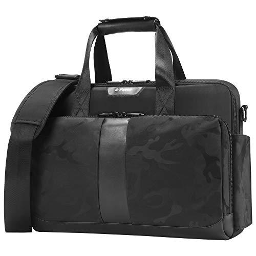 Laptop Bag 15.6 17.3 Inch, Laptops Briefcase Business Office Bags for Men Women, Computer Bag Laptop Carrying Case, Water Resistant Messenger Shoulder Bag with Strap - G-FAVOR, Black