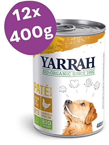 Yarrah Cibo Bio Paté con Pollo per Cani - 12 x 400 gr - per Tutti i Cani, dai Cuccioli ai più Anziani - Senza Frumento - con Aggiunta di Spirulina e Alghe