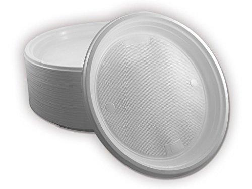 TRENDSKY® Ungeteilt Partyteller/Plastikteller/Wegwerfteller/Einwegteller mit 3 cm hohem Rand, weiß, Durchmesser ca. 23 cm (100)