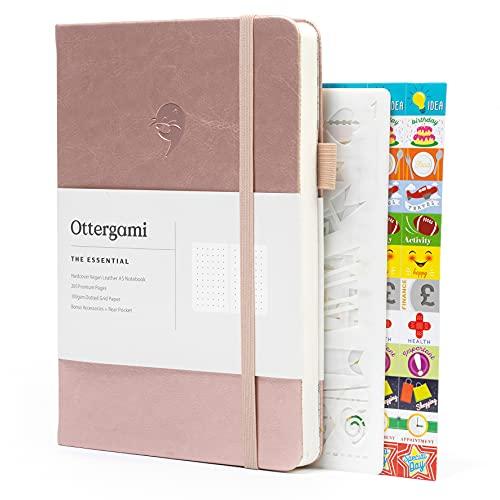 Bullet Carnet Pointillé Journal | Carnet de Notes + Pochoirs et Autocollants Bonus | The Essential de Ottergami (Or Rose)