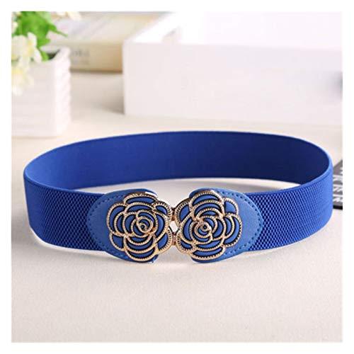 Cinturones de Mujer Cinturón de Cintura Ancha de Mujer Vintage Metal Flor Elástico Estiramiento Hebilla Cintura (Color : Azul, Talla : One Size)