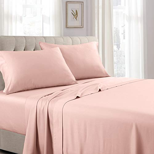 Royal Tradition Solid 300 Thread Count, 100 Percent Cotton 4PC Queen Bed Sheets Set with Deep Pockets, Blush
