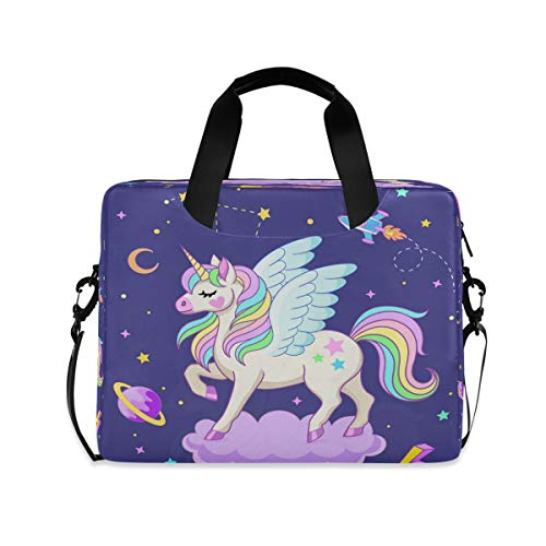 Cute Unicorn Pegasus On Purple Cloud Rocket Laptop Case 15.6 Inch Computer Carrying Protective Case with Strap Bag
