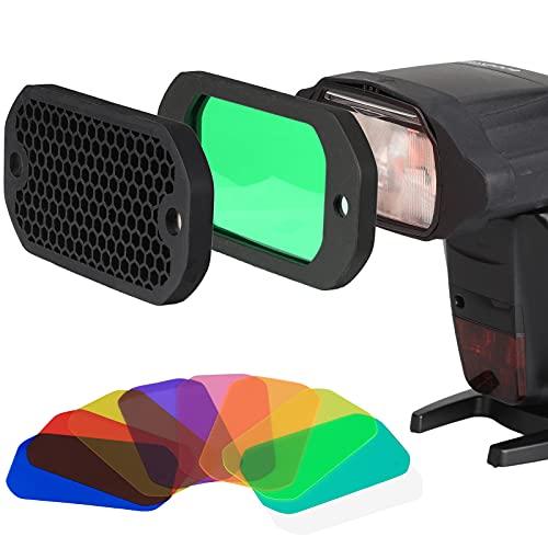 AODELAN Juego de filtros de gel flash, rejilla universal de panal con kit de filtros de iluminación Speedlite de 8 colores para Canon Nikon, Sony, Godox Yongnuo cámara flash