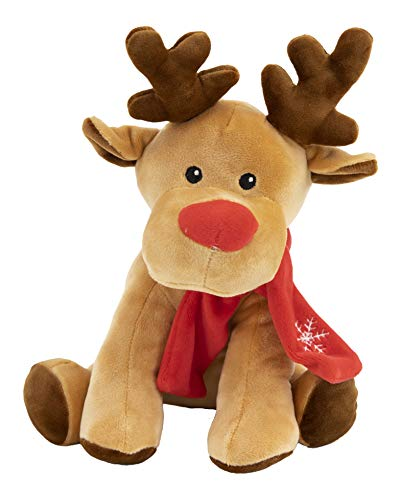 Gitzy Holiday Reindeer - Christmas Reindeer Stuffed Animal - Cute Plushies for Adults and Kids - Adorable, Soft Festive Reindeer with Scarf (Red)