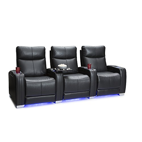 Seatcraft Solstice Home Theater Seating - Top Grain Leather - Power Recline - Power Lumbar - Power Headrest - USB Charging - In-Arm Storage - Ambient Base Lighting and Lighted Cupholders - (Row of 3, Black)