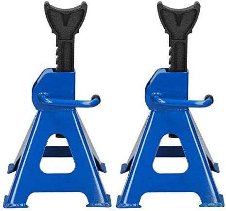 Bowoshen Jack Stands 3 Ton Capacity Heavy Duty Adjustable Height from 11.4 Inch to 17 Inch with Anti-Slip Feet for Car SUV Trucks, Blue, Pack of 2