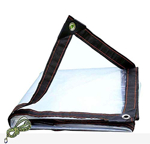 YJHH Clear Tarps Transparent Tarpaulin Cover with Rust Proof Eyelets, Tarp Cover Waterproof with Grommets, Multi-Purpose Anti-Tear Tarp Emergency Rain Shelter, Outdoor Cover Camping,3x6m/9.8x19.7ft