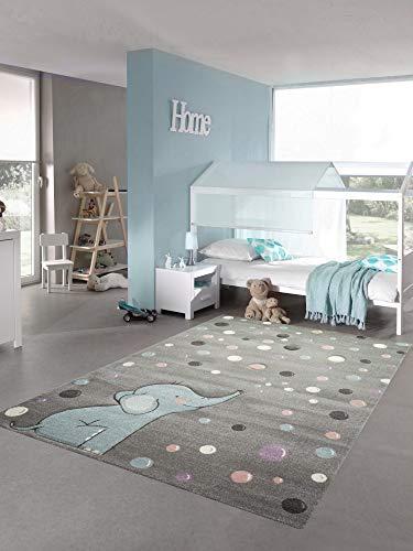 Teppich-Traum Kinderteppich Elefant Kinderzimmerteppich mit Punkten in grau blau Größe 140x200 cm