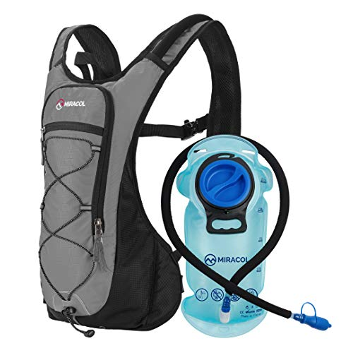 MIRACOL Hydration Backpack with 2L BPAFree Bladder Lightweight Hydration Pack for Running Hiking Climbing Biking Cycling Skiing Grey