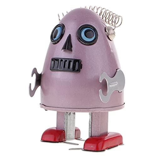 HomeDecTime Retro Wind Up Clockwork Walking Robot de Hojalata en Forma de Huevo con Lovely Moves Rosa