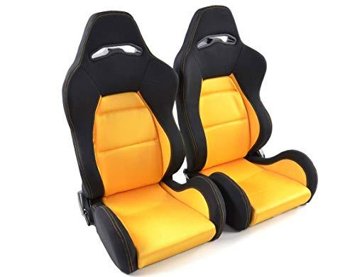 Par de asientos deportivos ergonómicos de rendimiento edición 3, color amarillo/negro