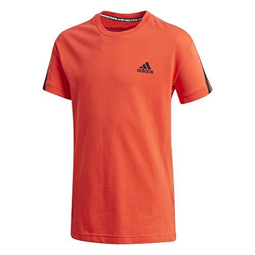 adidas Jungen 3-Streifen T-Shirt, Hirere/Black, 128