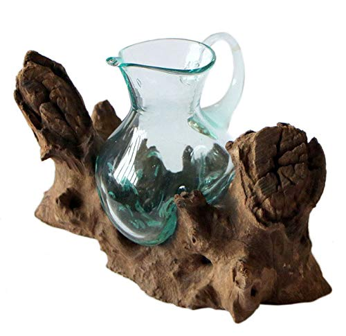 Geschenk Deko Gamal Wurzelholz Kanne Glas Vase Wurzel Holz Teakholz Glas Krug M