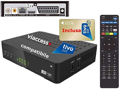 Decoder Satellitare HD compatibile con tessera Tivusat è con tessere Viaccess CON TESSERA TIVUSAT INCLUSA Bware 545
