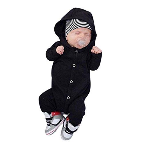 Tefamore Ropa para niños bebés Conjunto, Mono de Mameluco con Capucha de algodón Trajes de Ropa de Pijama, 3-24M