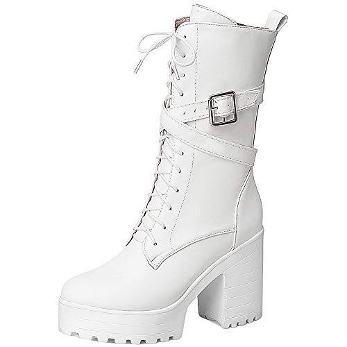 Kaizi Karzi - Botas altas con cremallera para mujer Blanco Size: 41 EU