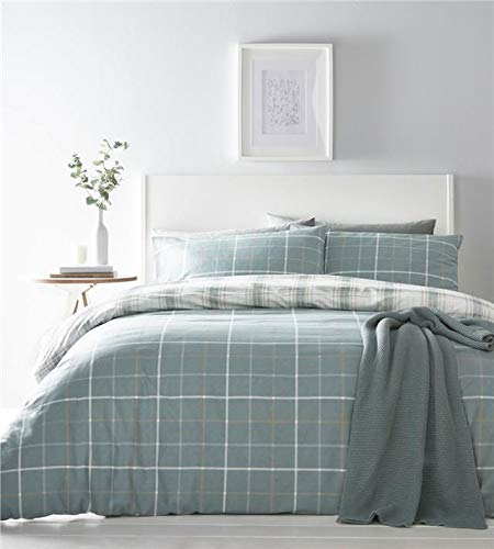 Homemaker Tartan check duvet set ochre yellow duckegg or mauve purple bedding quilt cover & pillow case (Teal,King)
