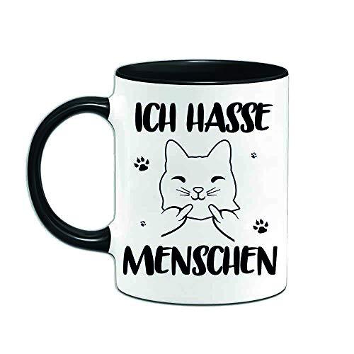 Yoner Ich Hasse Menschen lustige Kaffeetasse als Geschenk für Freunde Arbeitskollegen Freundin mit witziger Katze tolle Geschenkidee mit ca. 330ml Fassungsvermögen