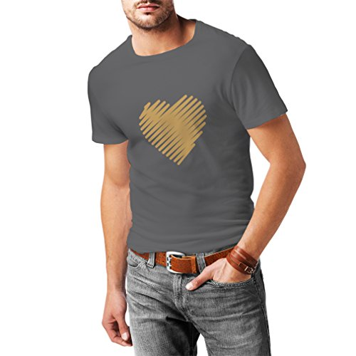 lepni.me Camisetas Hombre Corazón con Estilo, te Amo Regalos Trajes de día de San Valentín (XXX-Large Grafito Oro)