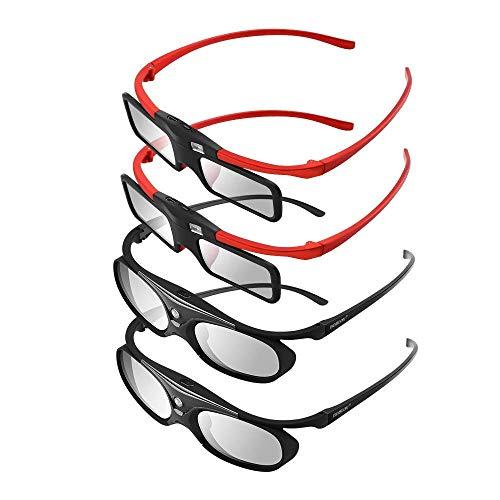 Boblov 3D Gafas Activas de Obturador, 96-144Hz 3D Gafas DLP-Link para DLP Proyector Optoma/BenQ/Sharp/Acer/Samsung/Mitsubishi/ViewSonic/LG ect (Negro-1 Pack)