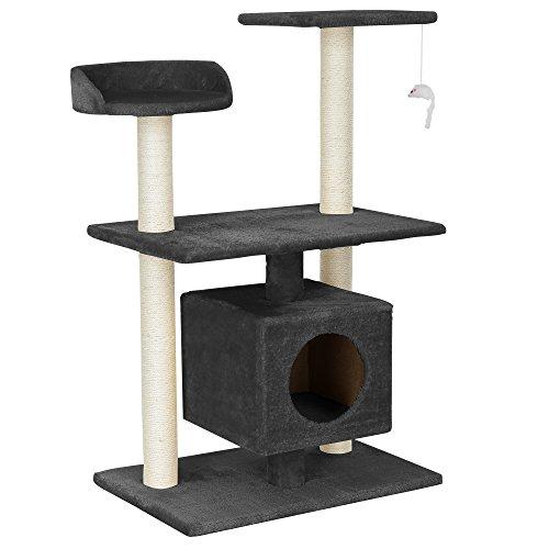 [en.casa] Rascador Para Gatos Árbol Para Gatos Trepar Sisal Juguetes - 60x40x95cm - gris