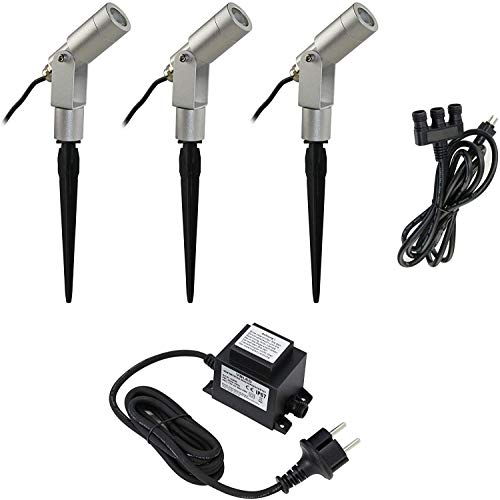 VBLED® - Juego de dispositivos de iluminación para jardines (3 unidades, diseño...