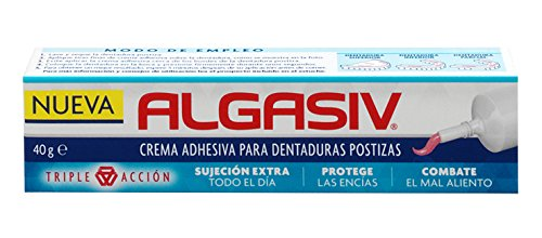 Algasiv, Crema Adhesiva para Dentadura Postizas, Sujeción Extra Todo el Día, Protege las Encías, Combate el Mal Aliento, 40 g