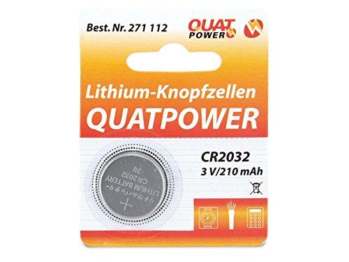 Knopfzelle, QUATPOWER, CR2032, Lithium, 3 V, 210 mAh, 1 St.