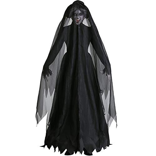 BRAZT Unisex Cosplay Capa, Disfraz Fallen Angel, con Capucha del Partido De Cosplay del Cuervo Capes,Ghost (b),XXL