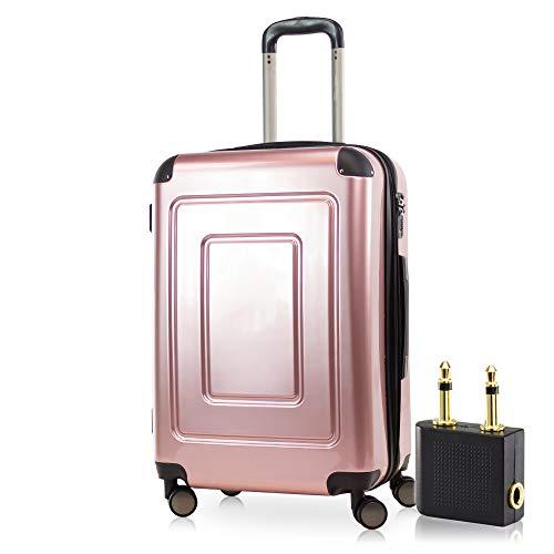 Happy Trolley - Lugano Hartschalen-Koffer Koffer Trolley Rollkoffer Reisekoffer Lugano, sehr leicht, TSA, 66 cm, 78L Rose Gold +Audio Adapter