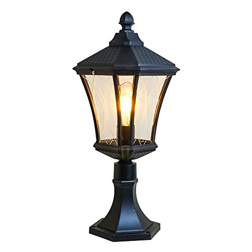 Extérieure rétro Eclairage sur pied colonne noire imperméable lampe de jardin lampe de pelouse lumière outdoor lamp de clôture lampe de cour balcon paysage voie Luminaire 23 * 16 * 45 cm