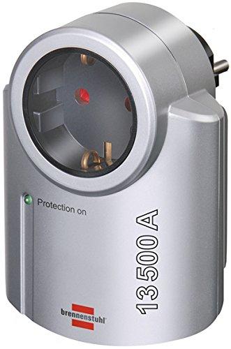 Brennenstuhl Primera-Line, Adaptador de Corriente con protección de pararrayos (Adaptador como protección para Equipos eléctricas), Color Plateado/Negro