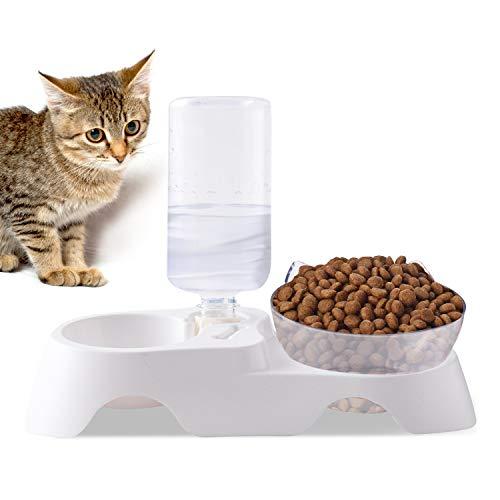 PETCUTE Comederos Gatos Perros Elevado Cuenco de Gato Tolva Bebederos Automaticos para Perros de Mascota ángulo con Base Alto Antideslizante Tazón del Alimento para Mascotas con hervidor de Agua